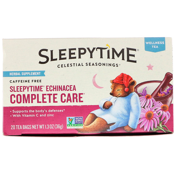 Celestial Seasonings, Wellness Tea, Sleepytime Echinacea Complete Care, Caffeine Free, 20 Tea Bags, 1.3 oz (36 g) (Discontinued Item)