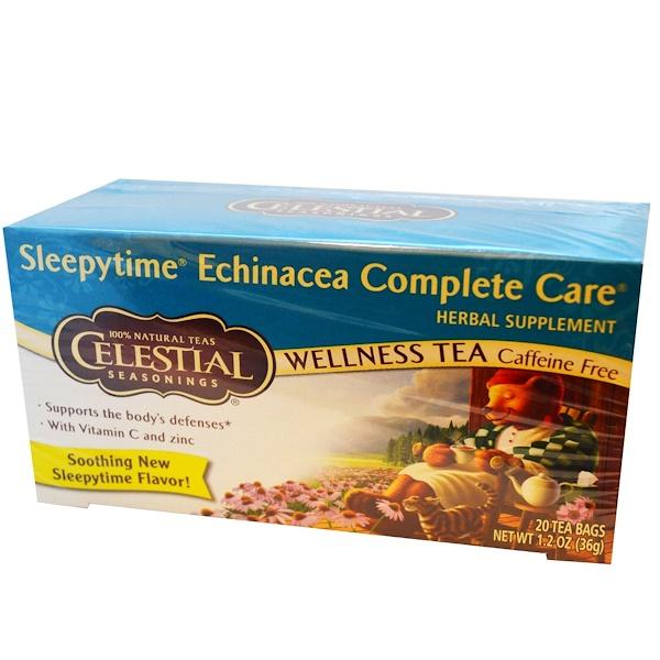 Celestial Seasonings, Wellness Tea, Sleepytime Echinacea Complete Care, Caffeine Free, 20 Tea Bags, 1、2 oz (36 g)