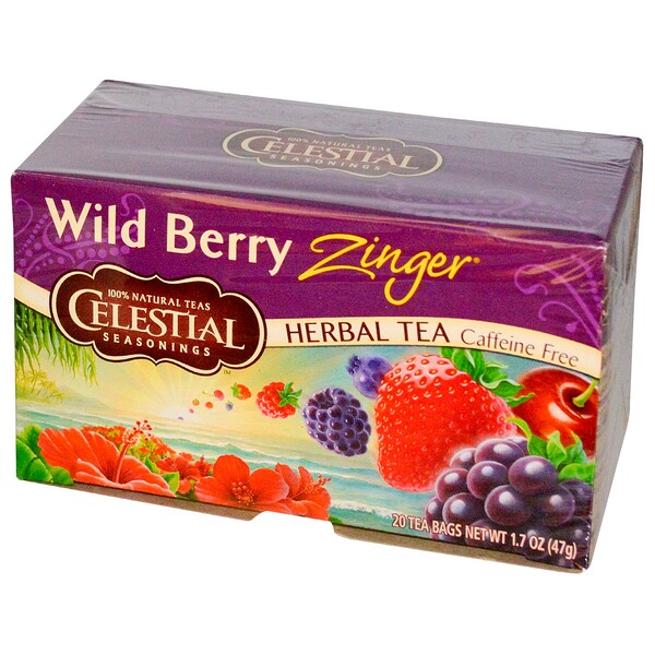 Herbal Tea, Caffeine Free, Wild Berry Zinger, 20 Tea Bags, 1.7 oz (47 g)