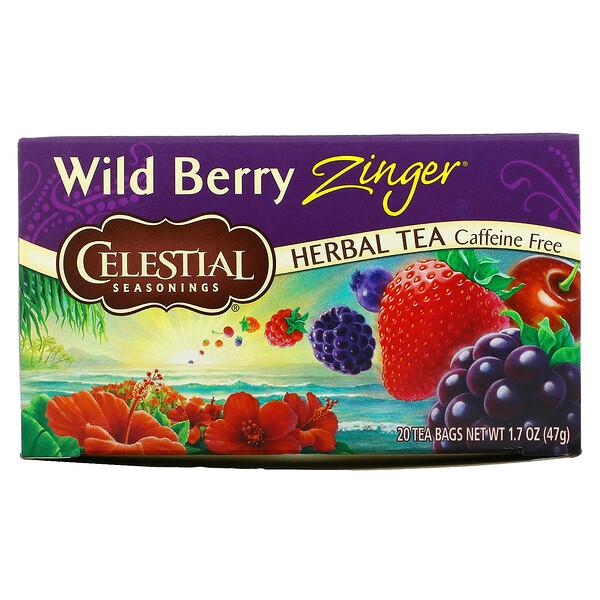 Herbal Tea, Caffeine Free, Wild Berry Zinger, 20 Tea Bags, 1.7 oz (47 g)