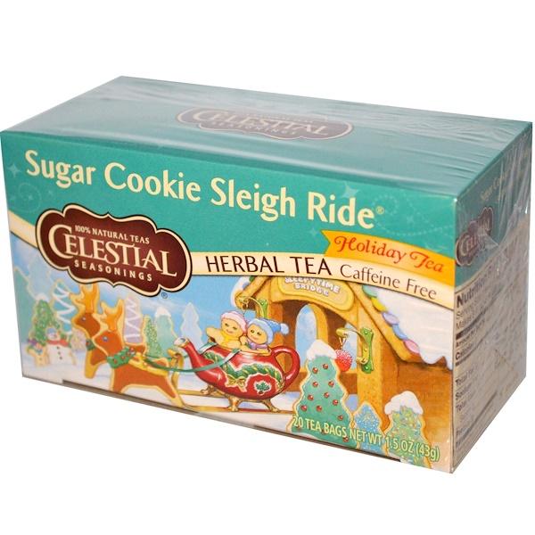 Celestial Seasonings, Holiday Herbal Tea, Sugar Cookie Sleigh Ride, Caffeine Free, 20 Tea Bags, 1.5 oz (43 g) (Discontinued Item)