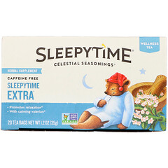 Celestial Seasonings, Wellness Tea, Extra para a hora do sono, Sem cafeína, 20 saquinhos de chá, 35 g