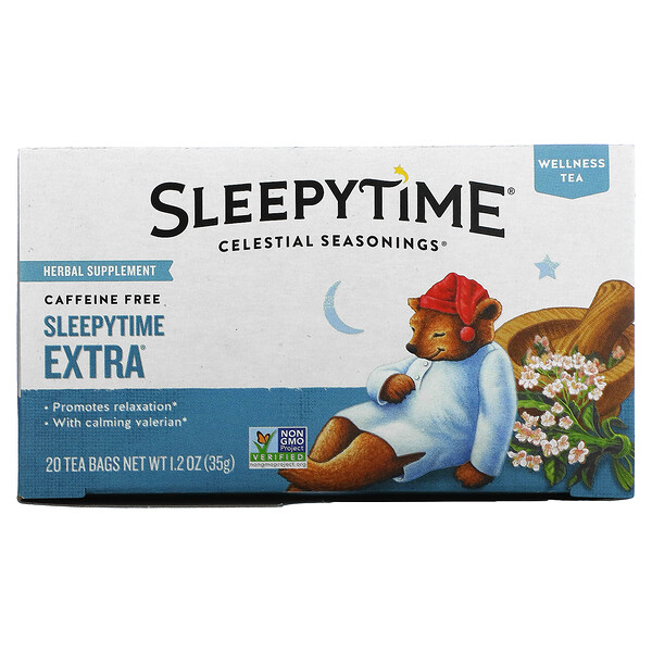 Велнес-чай Sleepytime Extra, без кофеина, 20 чайных пакетиков, 1,2унции (35г)