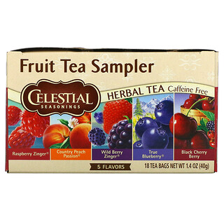 Celestial Seasonings, Fruit Tea Sampler, Herbal Tea, Caffeine Free, 5 Flavors, 18 Tea Bags, 1.4 oz (40 g)
