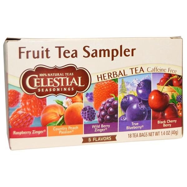 Celestial Seasonings, Fruit Tea Sampler, Herbal Tea, 무카페인, 5 종류의 향, 18 티백, 1.4 oz (40 g)