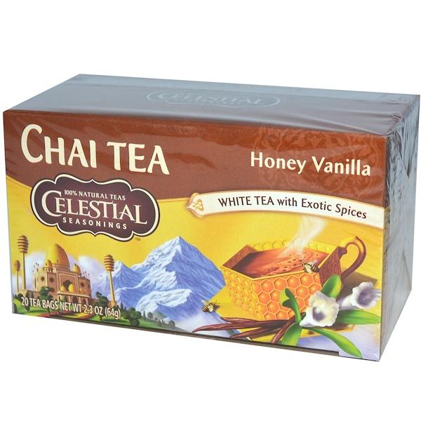 Celestial Seasonings, Chai Tea, Honey Vanilla, 20 Tea Bags, 2.3 oz (64 g) (Discontinued Item)