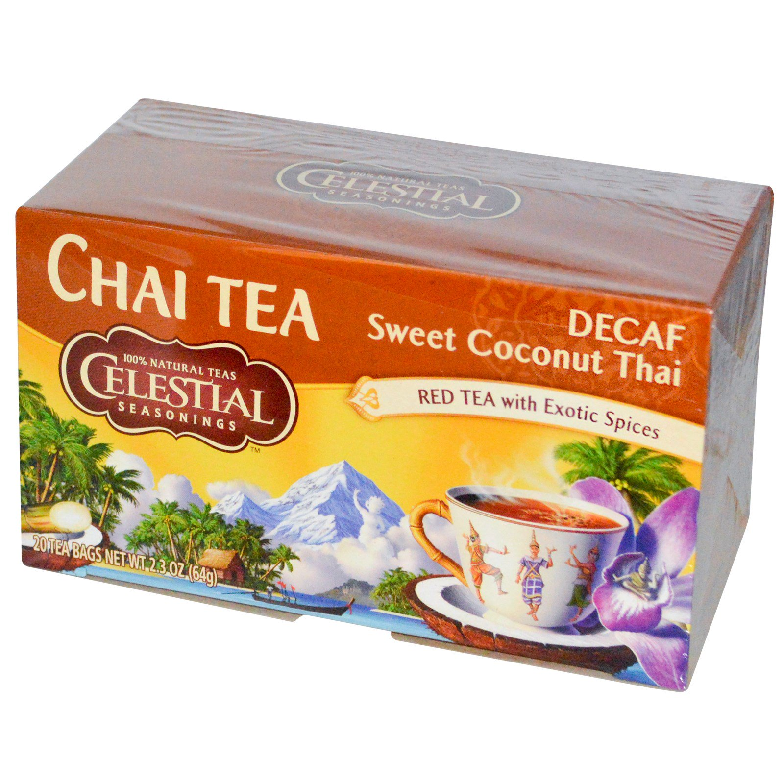Celestial Seasonings Chai Tea Decaf Sweet Coconut Thai 20 Bags