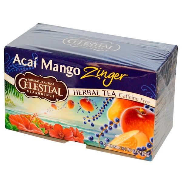 Celestial Seasonings, Herbal Tea, Caffeine Free, Acai Mango Zinger, 20 Tea Bags, 1.5 oz (42 g) (Discontinued Item)