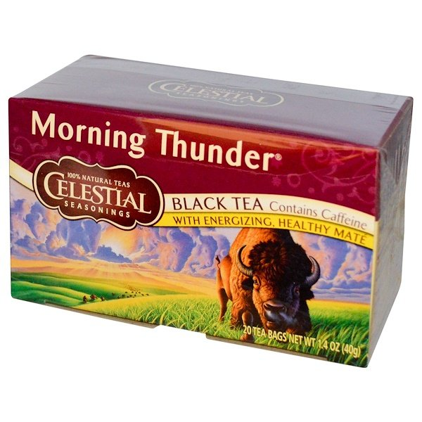Celestial Seasonings, Black Tea, Morning Thunder, 20 Tea Bags, 1.4 oz (40 g)