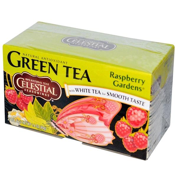 Celestial Seasonings, Зеленый чай с белым чаем, малиновый сад, 20 пакетиков, 1,4 унции (40 г) (Discontinued Item)