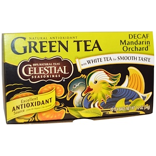 Celestial Seasonings, Green Tea, Decaf, Mandarin Orchard, 20 Tea Bags, 1.2 oz (34 g)