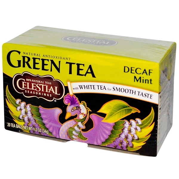 Celestial Seasonings, Green Tea, with White Tea, Decaf  Mint, 20 Tea Bags, 1.2 oz (34 g) (Discontinued Item)