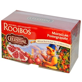 Celestial Seasonings, African Red Herbal Tea, Moroccan Pomegranate, Caffeine Free, 20 Bags, 1.6 oz (45 g)