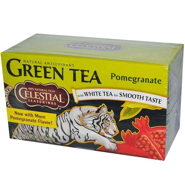 Celestial Seasonings, Green Tea, Pomegranate, 20 Tea Bags, 1.4 oz (41 g) (Discontinued Item)