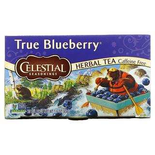 Celestial Seasonings, Herbal Tea, True Blueberry, Caffeine Free, 20 Tea Bags, 1.6 oz (45 g)