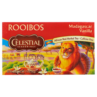 Celestial Seasonings, Rooibos Tea, Madagascar Vanilla, Caffeine Free, 20 Tea Bags, 1.5 oz (42 g)
