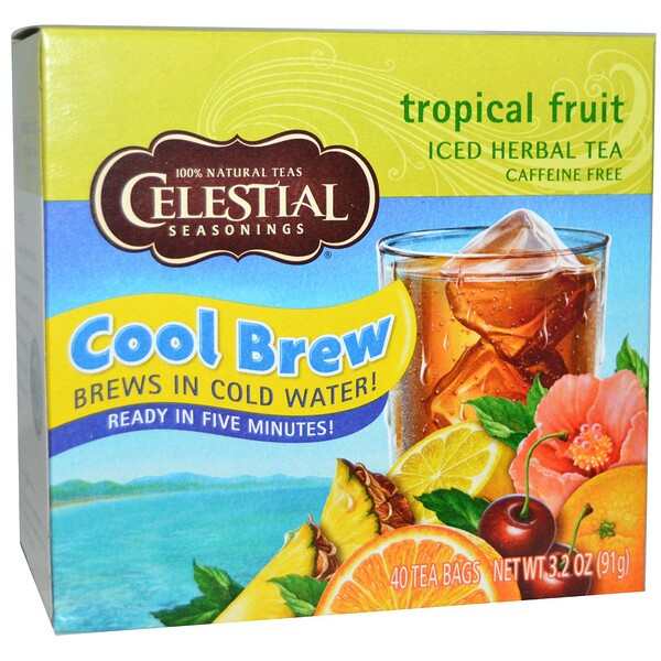 Iced Herbal Tea, Caffeine Free, Tropical Fruit, 40 Tea Bags, 3.2 oz (91 g)