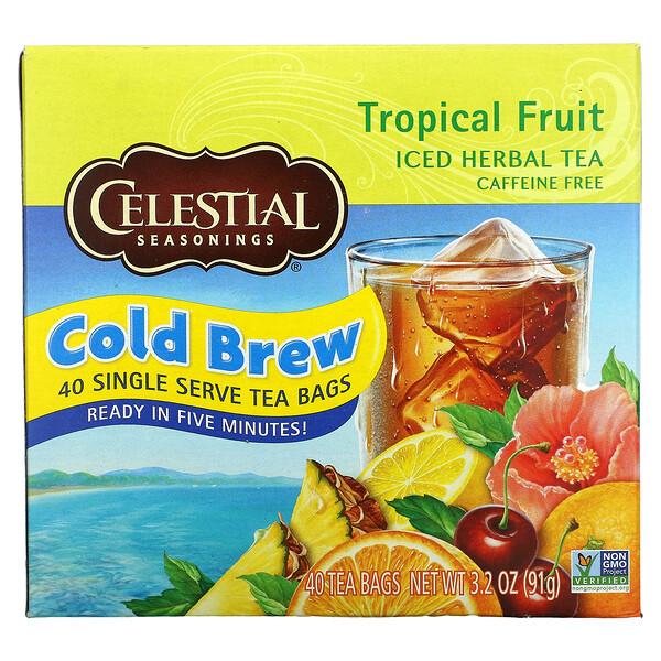 Té herbal helado, Sin cafeína, Fruta tropical, 40 bolsitas de té, 3.2 oz (91 g)