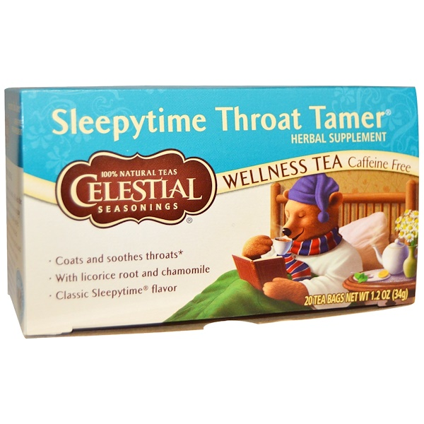 Celestial Seasonings, Sleepytime Throat Tamer, Wellness Tea, 20 Tea Bags, 1、2 oz (34 g)
