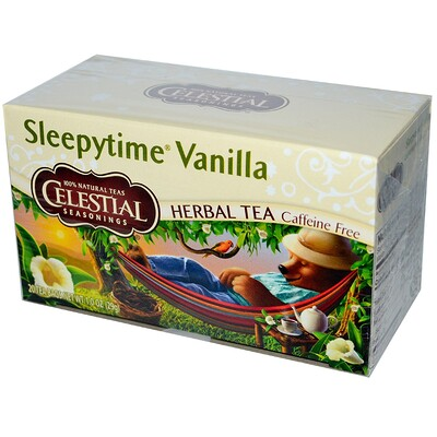 Celestial Seasonings Травяной чай, Sleepytime Vanilla, без кофеина, 20 пакетиков, 1,0 унции (29 г)