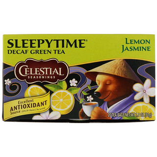 Celestial Seasonings, Sleepytime Green Lemon Jasmine, Decaf, 20 Tea Bags, 1.1 oz (31 g)