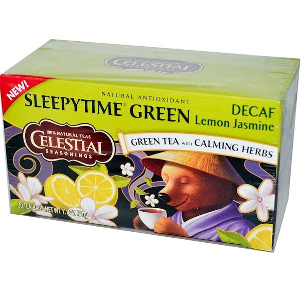 Celestial Seasonings, 睡前綠檸檬茉莉花茶,去咖啡因,20 包, 1、1 oz (31 g)