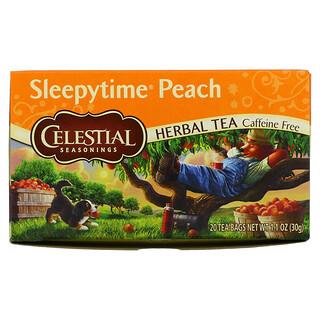 Celestial Seasonings, Herbal Tea, Sleepytime Peach, Caffeine Free, 20 Tea Bags, 1.1 oz (30 g)