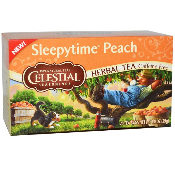 Celestial Seasonings, Herbal Tea, Caffeine Free, Sleepytime Peach, 20 Tea Bags, 1.0 oz (29 g)