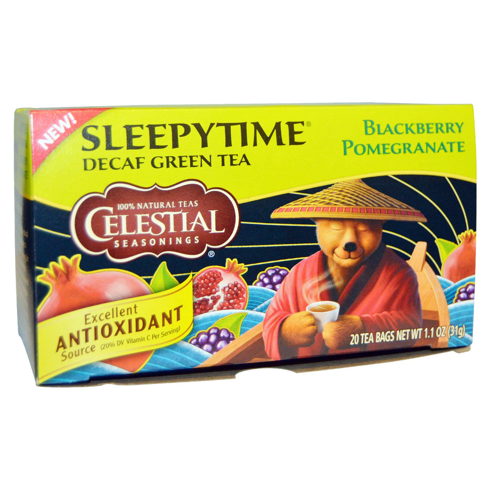 Celestial Seasonings Sleepytime Decaf Green Tea Blackberry Pomegranate 20 Bags