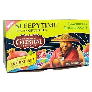 Celestial Seasonings, Sleepytime, Decaf Green Tea, Blackberry Pomegranate, 20 Tea Bags, 1.1 oz (31 g)