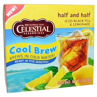Celestial Seasonings, Half and Half Cool Brew, アイス紅茶&レモネード, 40ティーバッグ, 85 g