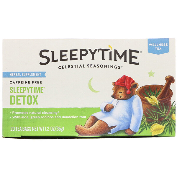 Celestial Seasonings, Wellness Tea, Sleepytime Detox, Caffeine Free, 20 Tea Bags, 1.2 oz (35 g)
