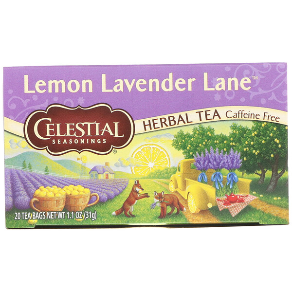Celestial Seasonings, Herbal Tea, Lemon Lavender Lane, Caffeine Free, 20 Tea Bags, 1.1 oz (31 g)