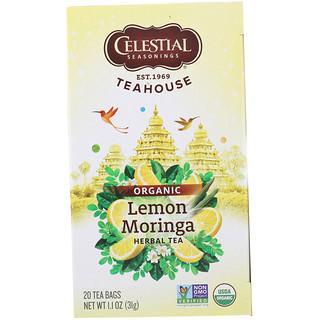 Celestial Seasonings, Teahouse, Organic Herbal Tea, Lemon Moringa, 20 Tea Bags, 1.1 oz (31 g)