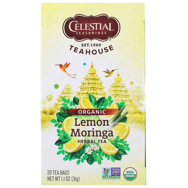 Teahouse, Organic Herbal Tea, Lemon Moringa, 20 Tea Bags, 1.1 oz (31 g)