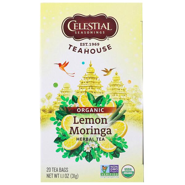 Teahouse, té orgánico de hierbas, moringa con limón, 20 saquitos de té - 1,1 oz (31 g)