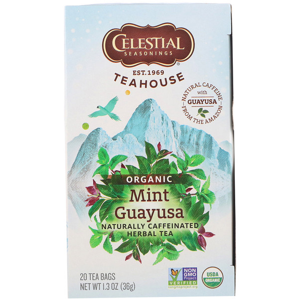 Celestial Seasonings, Teahouse, Organic Herbal Tea, Mint Guayusa, 20 Tea Bags, 1.3 oz (36 g) (Discontinued Item)