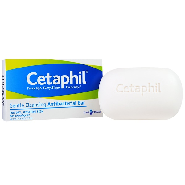 Cetaphil, Gentle Cleansing Antibacterial Bar, 4.5 oz (127 g) (Discontinued Item)