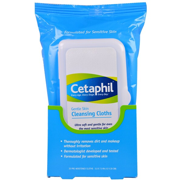 Gentle Skin Cleansing Cloths, 25 Pre-Moistened Cloths, 5.0 x 7.9 (12 x 20 cm)