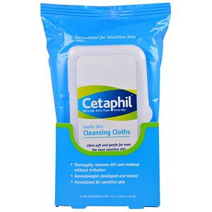 Сетафил, Gentle Skin Cleansing Cloths, 25 Pre-Moistened Cloths, 5.0 x 7.9 (12 x 20 cm) отзывы покупателей