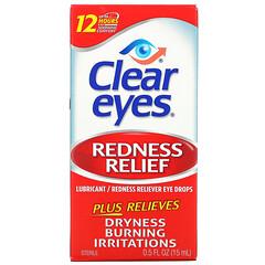 Clear Eyes, 發紅緩解,潤滑/發紅緩解滴眼液,0.5 液量盎司(15 毫升)
