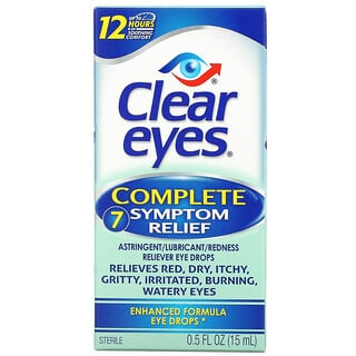 Clear Eyes, Complete 7 Symptom Relief, Astringent/Lubricant/Redness Reliever Eye Drops, 0.5 fl oz (15 ml)