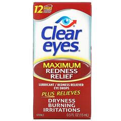 Clear Eyes, 特大限度緩解紅腫,潤滑/紅腫緩解眼藥水,0.5 液量盎司(15 毫升)