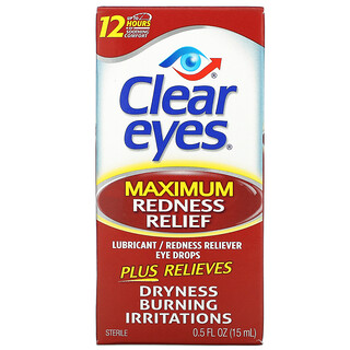 Clear Eyes, Maximum Redness Relief, Lubricant/Redness Reliever Eye Drops, 0.5 fl oz (15 ml)