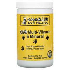 Charlie & Frank, วิตามินและแร่ธาตุรวมสำหรับสุนัข เพื่อลมหายใจที่สดชื่น บรรจุ 60 เม็ดเคี้ยวนิ่ม