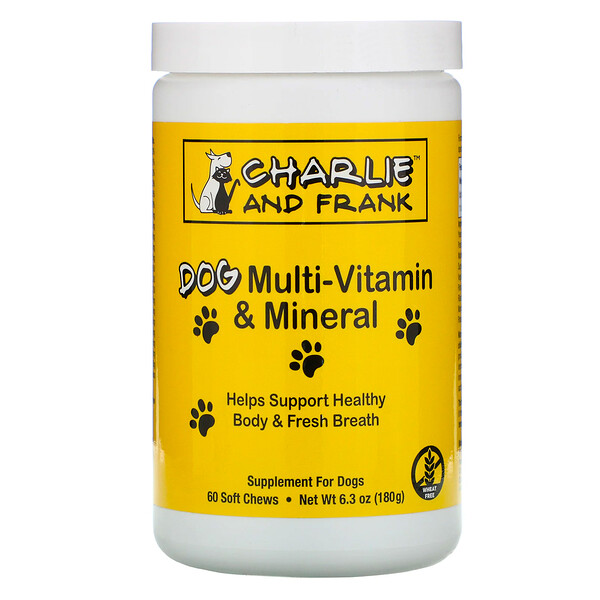 Charlie & Frank, Dog Multi-Vitamin & Mineral, Supports Fresh Breath, 60 Soft Chews