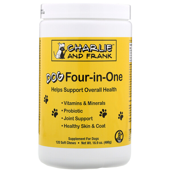 Charlie & Frank, Dog Four-in-One‏، 120 قرصًا طريًا قابلًا للمضغ