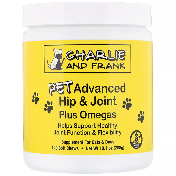 PET Advanced Hip & Joint Plus Omegas, For Cats & Dogs, 120 Soft Chews