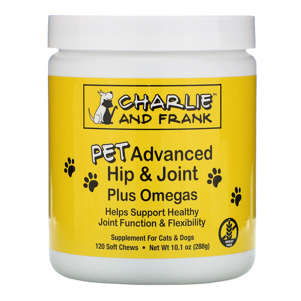 Charlie & Frank, Pet Advanced Hip & Joint Plus Omegas, For Cats & Dogs, 120 Soft Chews