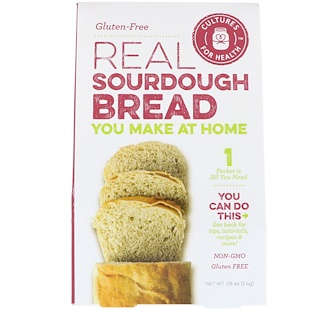 Cultures for Health, Pan de masa fermentada real, sin gluten, 1 paquete, 0,08 oz (2,4 g)